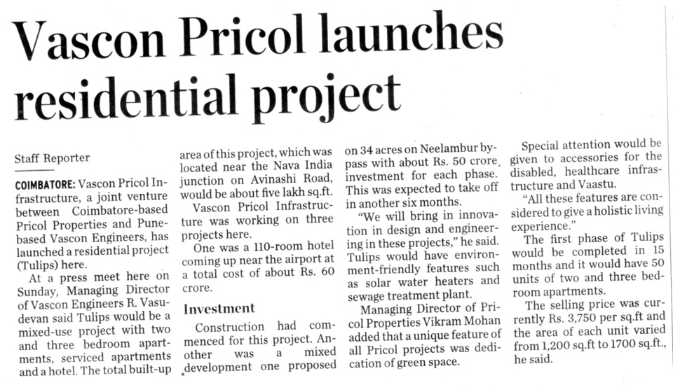 Vascon Pricol launches residential project
