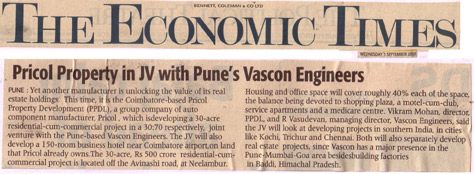 Pricol Property in JV with Pune's Vascon Engineers
