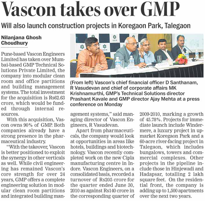 Vascon takes over GMP Technical Solutions