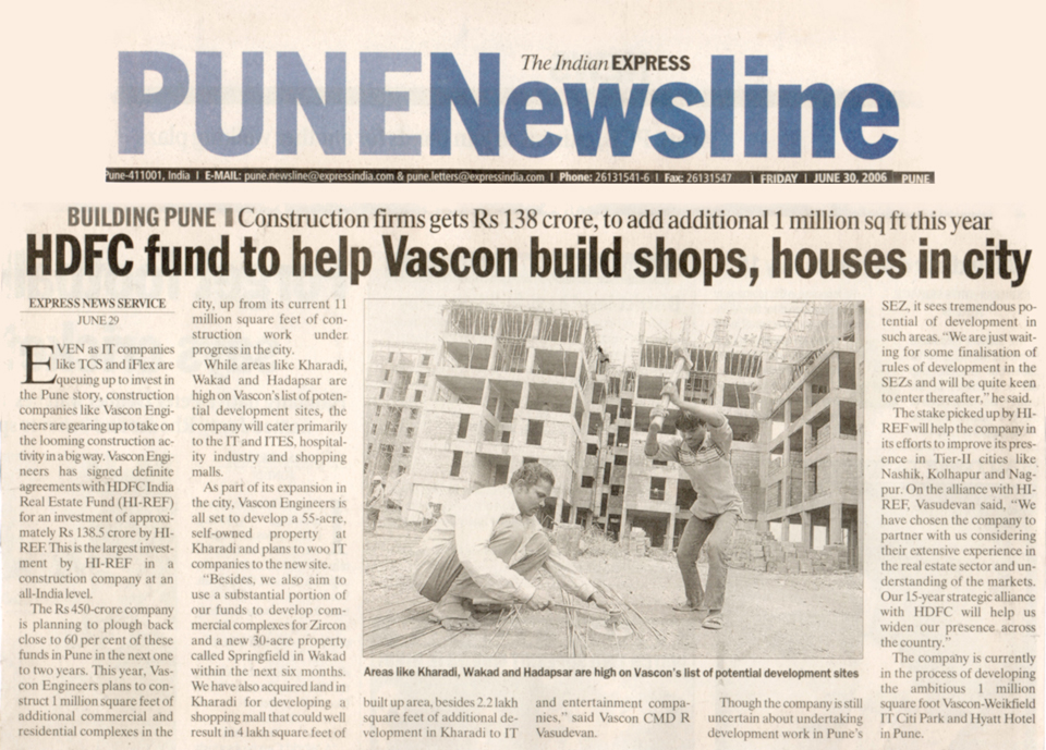 HDFC Fund to help Vascon Build Shops, Houses in city