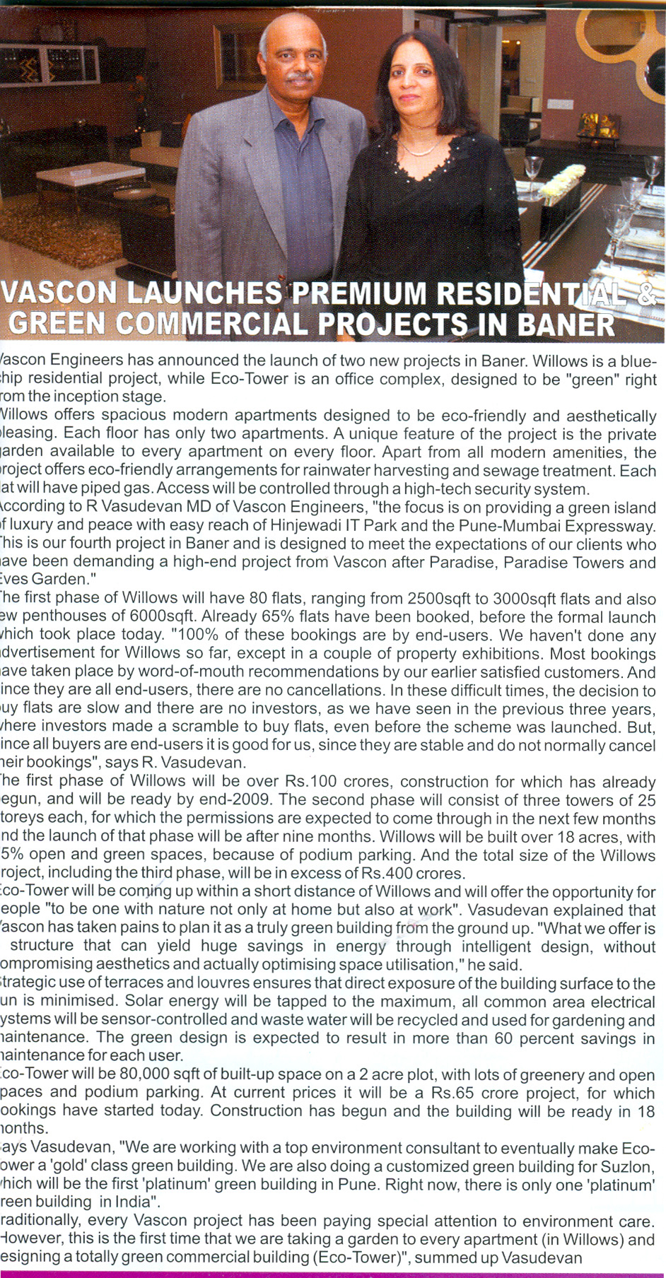 Vascon Launches Premium Residential & Green Commercial Projects in Baner