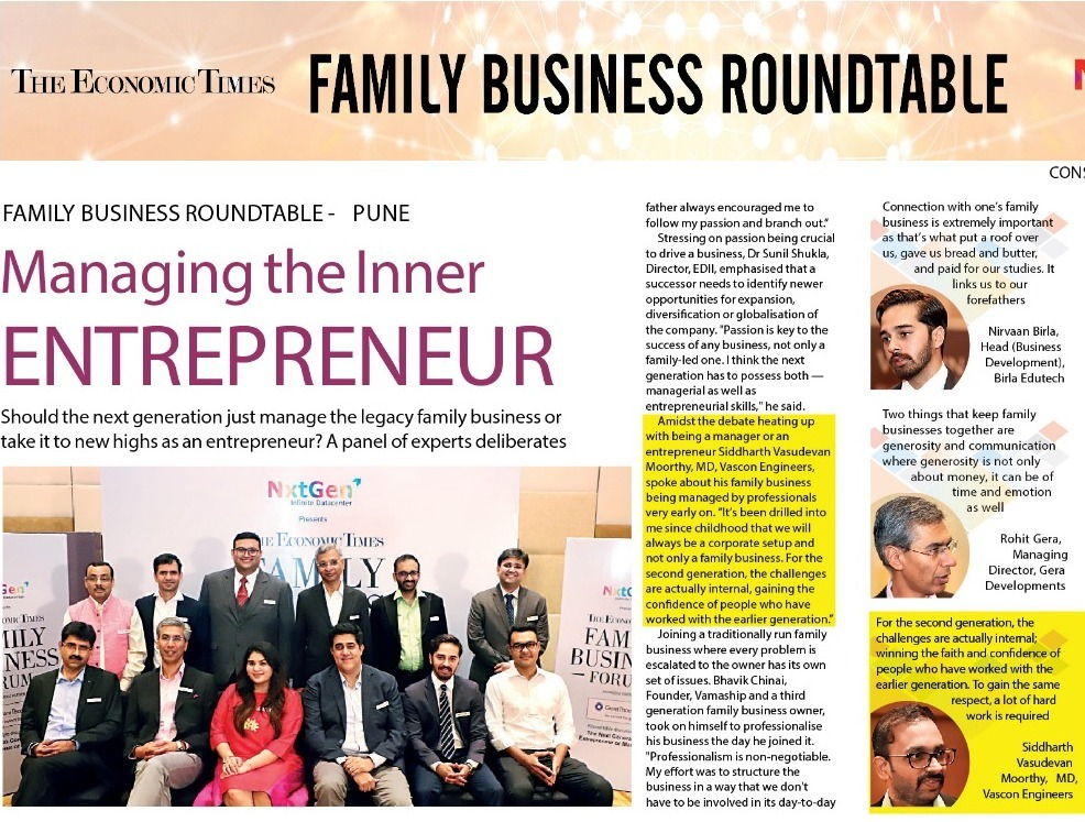 Family Business Roundtable Pune - Managing The Inner ENTREPRENEUR