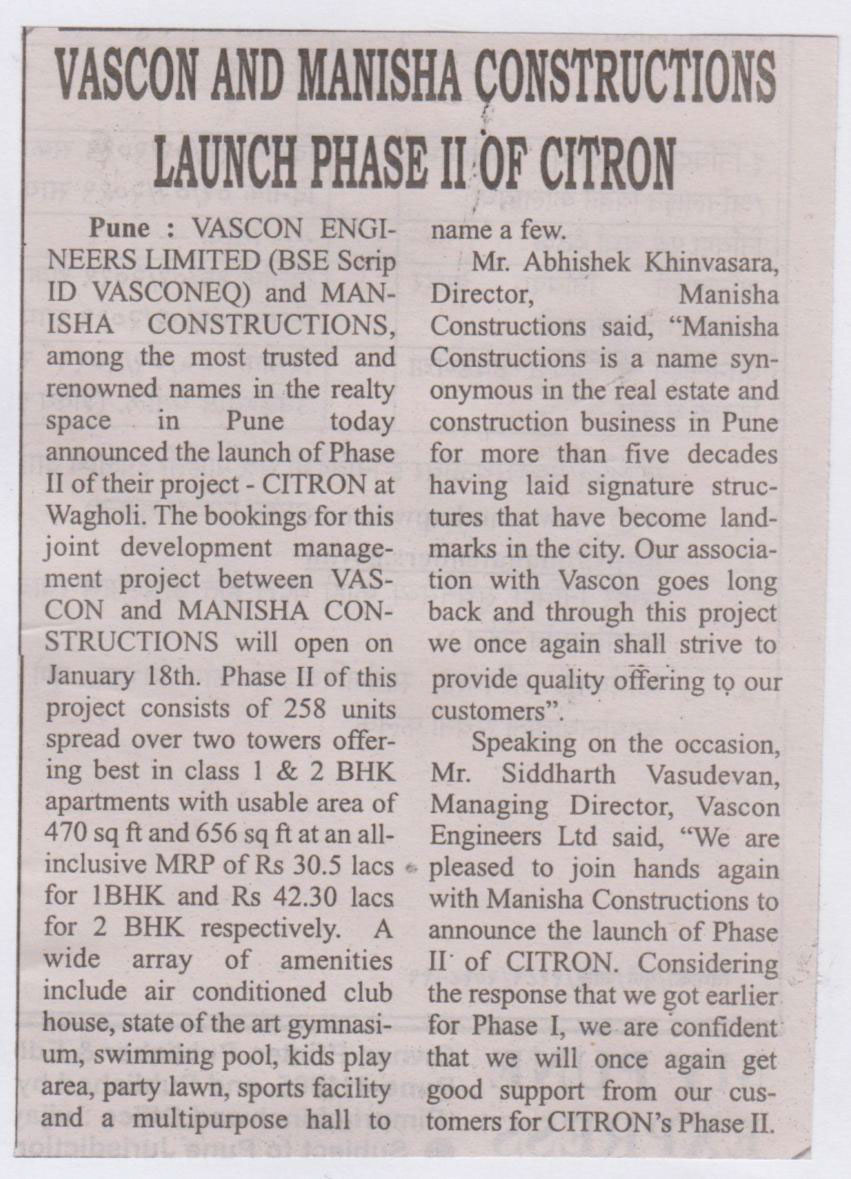 Vascon and Manisha Constructions launches Citron Phase II (My Pune Express)