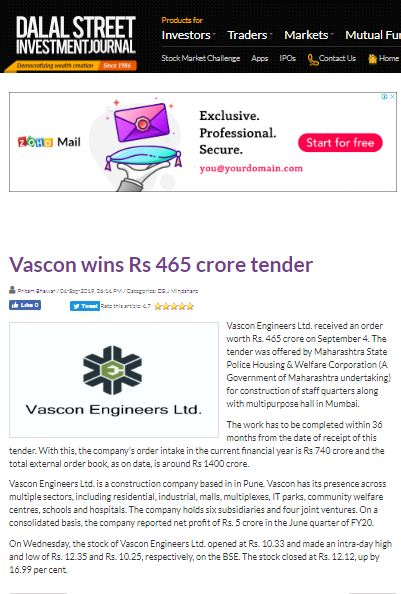 Vascon wins Rs 465 crore tender
