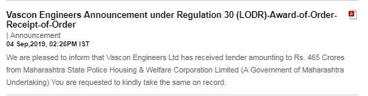 Vascon Engineers Announcement under Regulation 30 (LODR)-Earnings Call Transcript