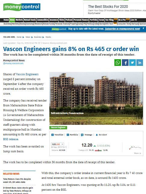 Vascon Engineers gains 8% on Rs 465 cr order win