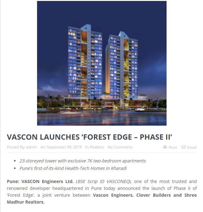 VASCON LAUNCHES 'FOREST EDGE – PHASE II'
