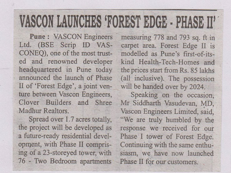 Vascon launches Forest Edge Phase II (DNA Times)