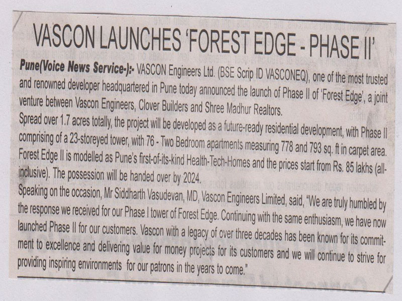 Vascon launches Forest Edge Phase II (Power of Voice)