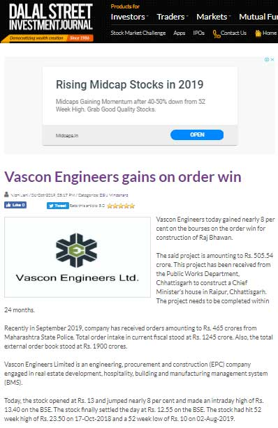 VASCON Engineers gains on order win(DSIJ)