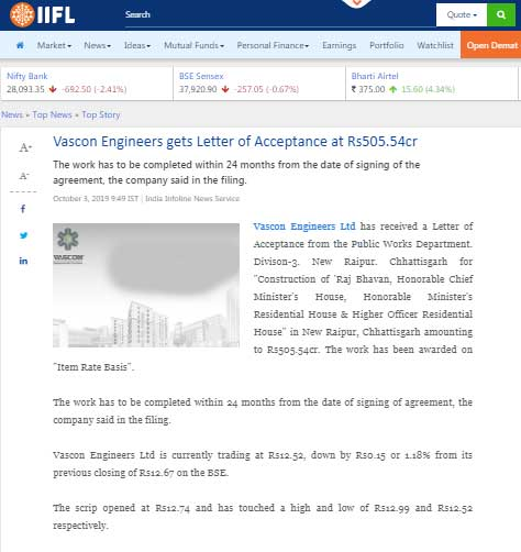 Vascon Engineers gets letter of acceptance at Rs 505.54 Cr(IIFL)