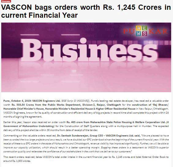 VASCON bags orders worth Rs. 1,245 Crores in current Financial Year(Punekar News)