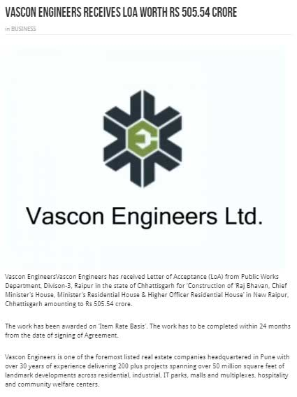 VASCON Engineers receives LoA worth Rs 505.54 Crs.(Udaipur Kiran)